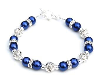 Royal Blue Bracelet, Royal Blue Wedding Jewelry, Bridesmaid Presents, Pearl Rhinestone Jewelry, Something Blue, Summer Wedding, Blue Wedding