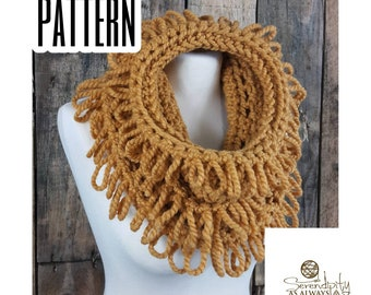 Crochet PATTERN | Loop Stitch Cowl Pattern | Loopy Cowl Pattern | Crochet Loops and Fringe Cowl | Crochet Chunky Cowl Pattern | PDF Download