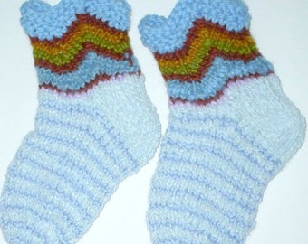 "Ankle socks hand knit. Foot length 8"". Chevron design. Slipper socks. Reinforced heel. Unique ultra soft Plush acrylic yarn. Ready to ship."