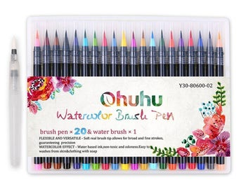 Ohuhu 20 Colors Watercolor Brush Marker Pens Soft Flexible Tip for Painting Art