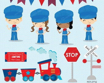 Train clipart, Engineer clipart, Train Conductor clipart, Train, Train Ticket, Train Party, Railway, Railroad, Commercial License Included