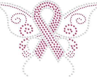 Cancer Ribbon Rhinestone Transfer