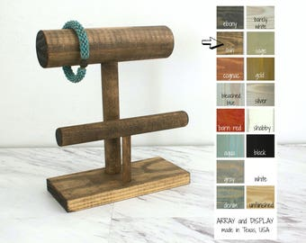 Wood Bracelet Display 2-Tier, Bracelet Stand, Wood Jewelry Display, Bracelet Holder, Retail Fixtures, Craft Show Displays