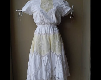 RESERVED FOR PADMA : 50% On May 80s White & off white crochet lace dress with some stain Bust 36 Waist up to 30  Hip 38