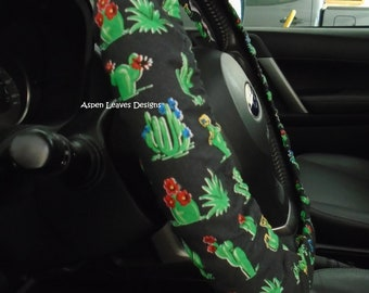 Small blooming cacti steering wheel cover. Desert succulent on black. Car decor. Fully lined cover. Optional seat belt cover and key fob.