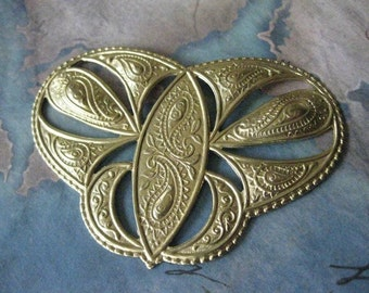 1 PC Raw Brass Scrolled Paisley Cartouche Plate - 0001T