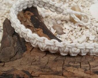 Surfer Macrame Hemp Bracelet White Woven Knot Friendship Bracelets
