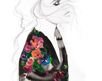 Flowers for the Wounded, print from original mixed media fashion illustration by Jessica Durrant