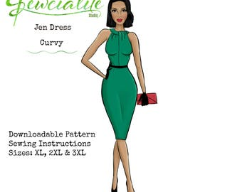 Plus Size 50s Wiggle Dress, Vintage Style Sewing Pattern, Vintage Reproduction Pattern, Downloadable Sewing Pattern, Round Collar Dress