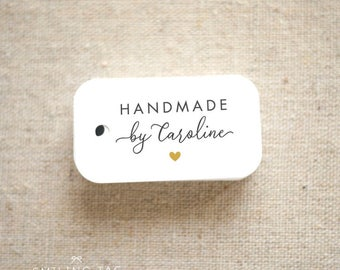 Handmade By Personalized Gift Tags - Handmade with Love Tags - Etsy Product Tags - Etsy Shop Labels - Set of 30 (Item code: J717)
