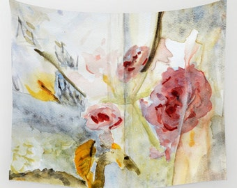 """Wall tapestry with fine art print. Abstract floral watercolor painting in soft pink and grey. """"Fragmented View"""" Roses Floral Tapestry"""