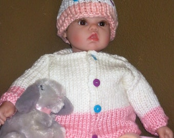 Hand Knitted Infant Sweater and Hat