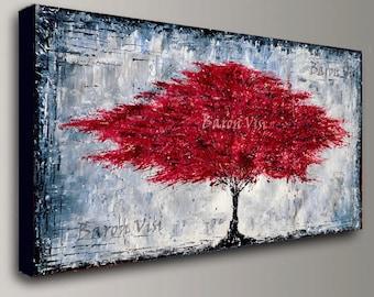 pintura acrílico rojo árbol pared árbol oficina decoración grande lona de arte abstracto texturado espátula moderno empaste fino Visi x