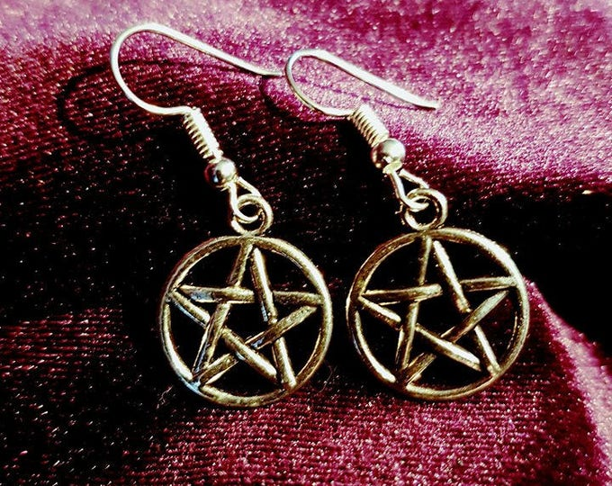 pentagram earrings - wicca witch witchcraft gothic occult