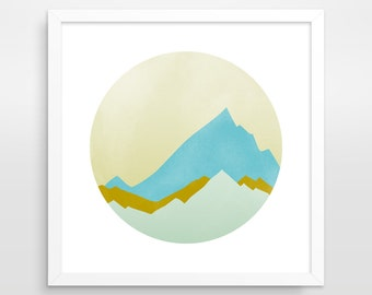 Mountain Art Print, Mid Century Wall Art, Pastel Print, Geometric Art, Circle Wall Art, Minimalist Print, Abstract Landscape, PNW