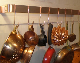 30 W x 5 D x 1-1/2 H Wall Mounted Brushed Finish SOLID COPPER Pot Rack & 10 Pot Hooks - FREE Shipping to U S Zip codes