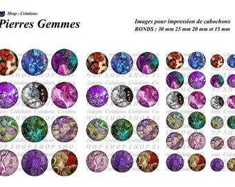 Stones gems 48 cabochons printable images