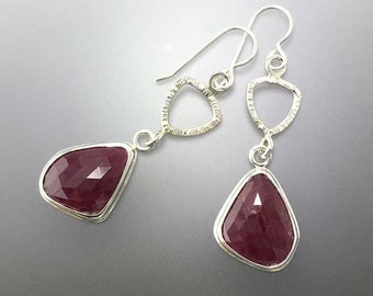Ruby Rose Cut Dangle Earrings in Sterling Silver, One of a Kind, ready to ship
