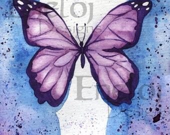 Lavender Butterfly Original Watercolor Fine Art Print