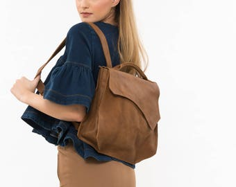 Brown leather backpack, Backpack leather purse, Women's backpack, Leather backpack women, Work bag, Office bag, Brown bag