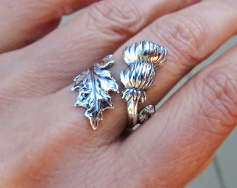 Thistle Ring Sterling Silver ring flower ring flower jewelry thistle jewelry Adjustable Ring Scottish jewelry wedding not spoon ring 115 DD