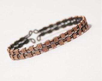 men's cuff bracelet, mens copper bracelet, mens gift, wire wrapped bracelet, wire wrapped cuff bracelet, wire wrapped jewelry handmade