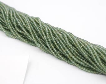 Green  Rutilated Micro Faceted Rondells 3 mm