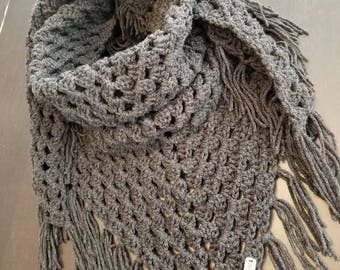 Ready to Ship, Triangle Scarf, Granny Scarf, Crochet Triangle Scarf