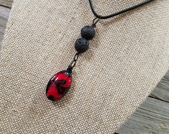 Pendant Necklace, Essential oils Diffuser Necklace, Personal Diffuser Jewelry, Aromatherapy Jewelry, Lava Stones, Red and Black Pendant.