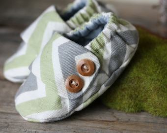 Gray, White, Green Chevron soft sole baby shoes, fabric booties, made to order size 0-18 month