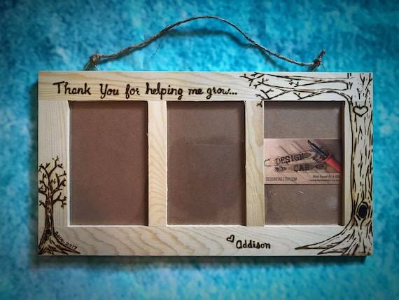 Teacher, nanny, daycare gift, wood burned frame, 4x6 caretaker gift ...
