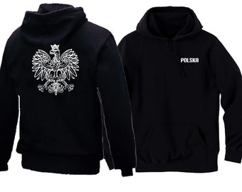 Polish eagle black front & back print man/women pullover hoodie Polska Coat of arms