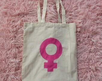 Feminist Tote Bag, Pink Venus Symbol Tote Bag, Feminist Symbol Tote Bag, Feminist Bag, Feminist, Feminism, Pink Venus Symbol