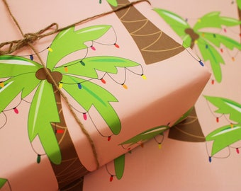 Palm Tree Christmas Gift Wrap Sheets
