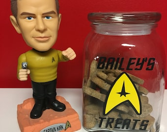 Star Trek Inspired Pet Snack Jar Container - perfect for your dog, cat, etc.