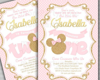 Pink and gold minnie mouse first birthday party invitation pink and gold minnie mouse first birthday party invitation 1st birthday 2nd birthday filmwisefo
