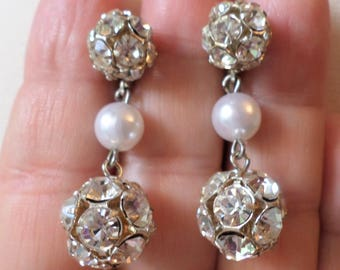Vintage Silver Tone, Glass Rhinestones and Faux Pearls Dangle Earrings.
