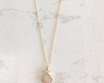 Dainty Blush Druzy Necklace // Layering Necklace // Minimalist Jewelry