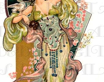 Enchanting Robed Art NOUVEAU Lady With Dove! Vintage Digital Art Nouveau ILLUSTRATION. Digital Art Nouveau DOWNLOAD.