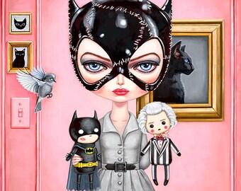 Catwoman Art Print - Batman Returns, Tim Burton art, Selina Kyle, pop surrealism, Gotham Girls, big eyes, pop art, geek art, painting 8x8