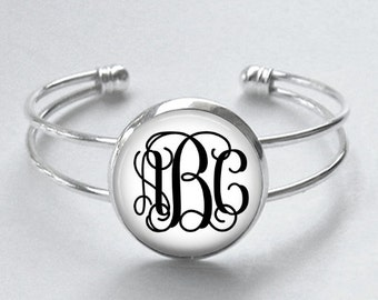 Custom Monogram Cuff Bracelet - Choice of Font and Color - Initials, Customized, Personzalized