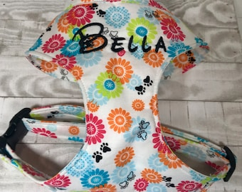 Dog harness - Soft comfort dog harness pug, boston terrier, frenchie harness - you pick the fabric print - custom - please read full descrip