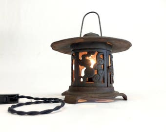 Japanese Cast Iron Pagoda Lantern, Pagoda Lantern, Pagoda Lamp Vintage, Pagoda, Cast Iron Table Lamp,