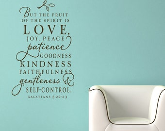 The fruit of the Spirit decor - custom color - wall decal - stunning vinyl wall lettering