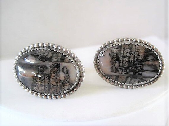 Sterling Cufflinks, Large Agate Stones,  Mens Accessory, Gift for Man,  Vintage 60's