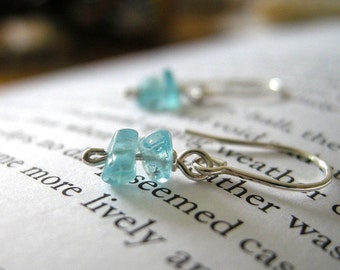 TINY Dainty Apatite Sterling Silver Earrings - Short Stack / Simple Minimal Jewelry for Her, Summer Ocean Sea Sky Blue