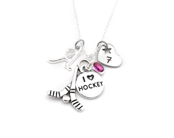 Hockey Necklace, Hockey Gifts, Hockey Jewelry, Gifts for Hockey, Hockey Player, Hockey Team Gift, Girls Hockey Gift