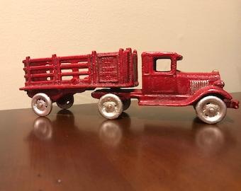 "CAST IRON ""Coast To Coast Cartage Co"" Semi Tractor Trailer (AC Williams?) Toy"