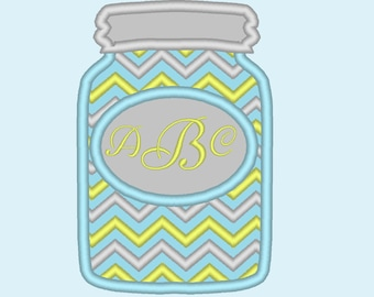 Mason jar Chevron monogram BX also ALL other (.pes .hus .dst .vp3 .vip .xxx .exp . jef)  - embroidery appliqué monogram embroidery design