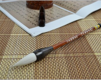 Chinese Calligraphy Material5x2.7x23.7cm Exquisite Goat Hair Flower Painting Brush / YX (Large) - Red Wood + Ox Horn Handle - 0017L
